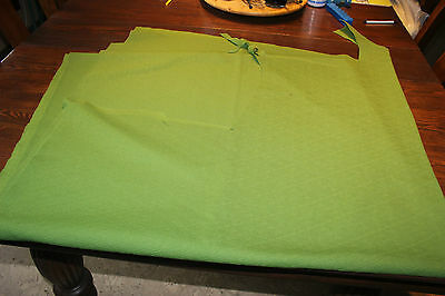 """Vintage Avocado Green Fortrel fabric, material. Remnant 82"""" x 60"""