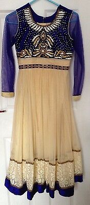 Ladies/girls  Blue And Cream Shalwar Kameez Anarkali Eid Suit Size 34 XS