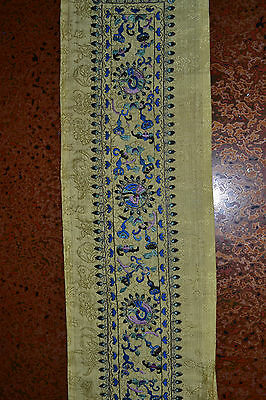 Chinese Embroidery Silk Panel or Sleeve Band Bats Fruit Old or Antique