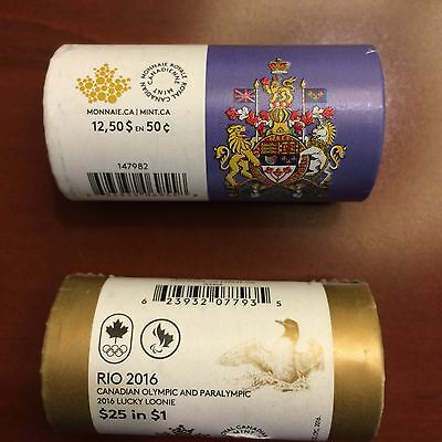 Olympic Canada lucky loonie plus 50 cents mint rolls bundle 2016
