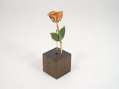 """3"""" 24k Gold Dipped Peach Real Rose & Stand (Free Anniversary Gift Box)"""