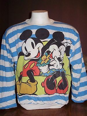VINTAGE 90's MICKEY & MINNIE MOUSE REVERSIBLE PUFFY SWEATSHIRT large DISNEY
