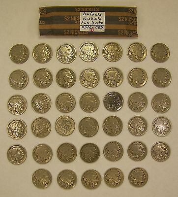 Roll of Full Date Buffalo or Indian Head Nickels
