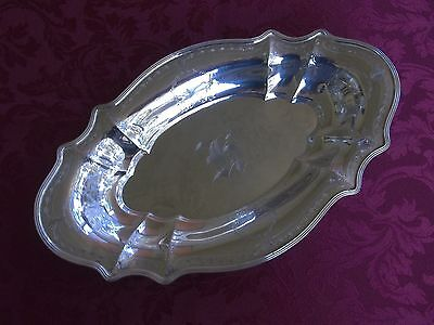 Graff, Washbourne & Dunn Large Sterling Chased Bread Tray Monogram H
