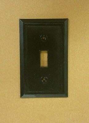 Lot of 3 Vtg 1950's Ribbed Brown ridged Single Toggle Switch Plate Cover, HOMART