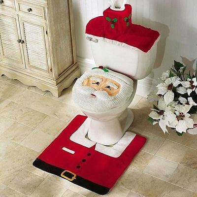 Christmas Xmas Decorations Happy Santa Toilet Seat Cover and Rug Bathroom Set