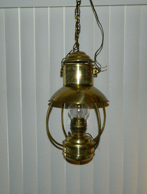 Kosmos Brenner Antique Oil Kerosene Converted To Electric Ceiling Hanging Lamp
