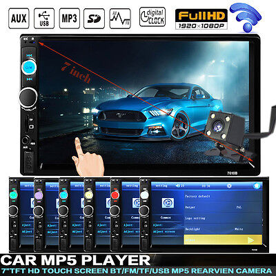 "7"" Double 2Din Touch In Dash Car Stereo Mp3 DVD Player iPod TV Bluetooth Radio"