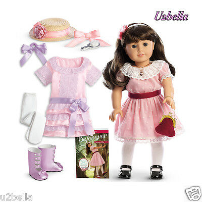 American Girl BeForever Samantha Doll & ACCESSORIES,FRILLY FROCK OUTFIT HAIR SET