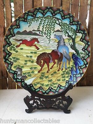 Large Vintage Chinese Cloisonne Enamel on Brass Display Plate Horse Themed