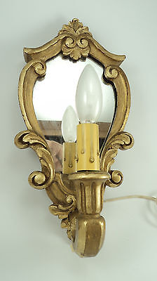 Beautiful Antique Gilt Wood Mirror Sconce plug in cord