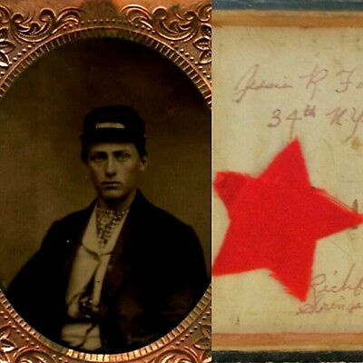 Victorian civil war soldier 6th plate tintype identified with battle souvenir