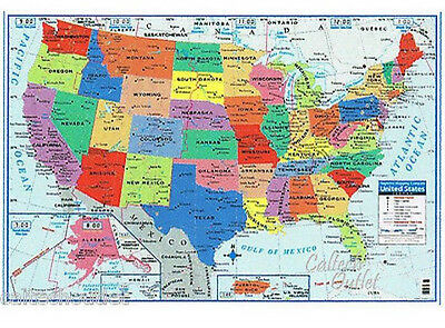 """USA United States of America Wall Map Poster Size 40"""" X 28"""" New Free Shipping"""