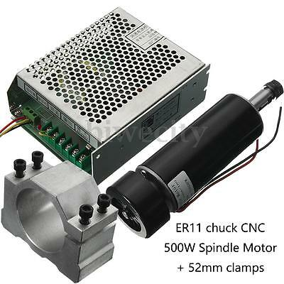 ER11 Chuck CNC 500W Spindle Motor w/ 52mm Clamps + Power Supply Speed Governor