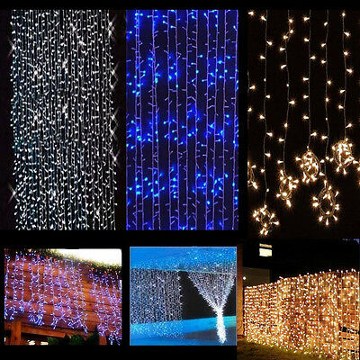 3.5M 96LED Icicle Hanging Snowing Curtain Fairy Lights Xmas Tree Wedding Party