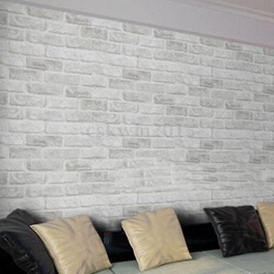 45cm x 10m Roll 3D White Grey Brick/Stone Texture Self-Adhesive Paper Wallpaper