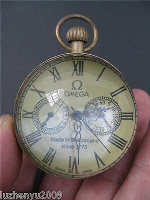Chinese antique brass clock round spherical glass mechanical pocket watch NRR23