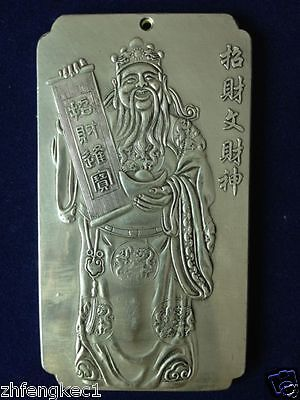 Old Chinese God of wealth Statue tibet Silver Bullion thanka amulet 129 g
