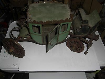 """13"""" Long Toy Model Wood & Metal 18th Century Carriage Cinderella from 40's Neat!"""