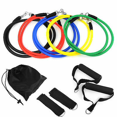 Resistance Bands Workout Exercise Yoga 11 Piece Crossfit Fitness Tubes UK STOCK