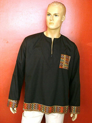 Vetement africain, chemise africaine, Caftan longues manches, Chemise patchwork