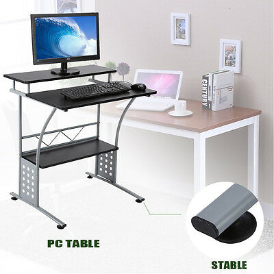 Metal Computer Desk PC Table Home Office Bedroom with Keyboard Storage Shelves
