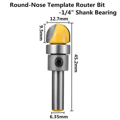 1/4'' Shank Round Nose Template Bearing Flush Trim Router Bit For Woodworking