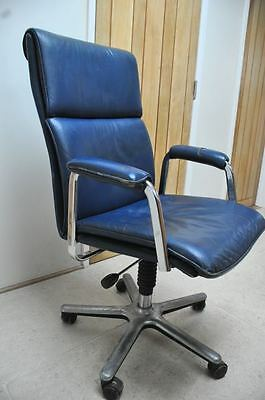Vintage blue leather Mid Century Office Chair Executive Swivel Eames Panton