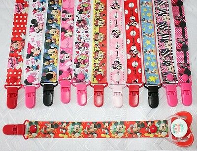 Dummy Clip Strap Ribbon Baby Mickey Minnie Mouse
