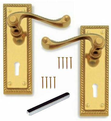 Polished Brass Georgian Lever Lock Door Handles with Keyhole 145mm x 48mm