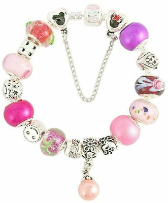 Silver SNAKE Chain CHARM BRACELET ✔ PINK PURPLE Murano Glass Beads Silver Charms