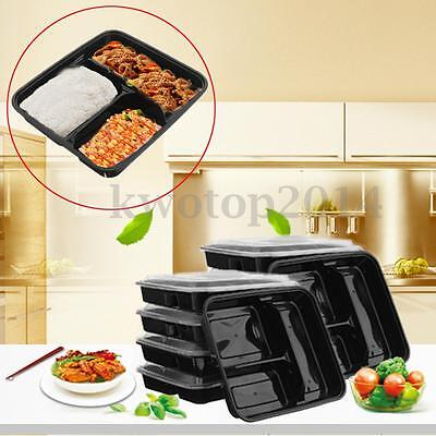 10 Meal Prep Container Bento Food Storage Microwavable 3 Compartment+Lip 1000ml