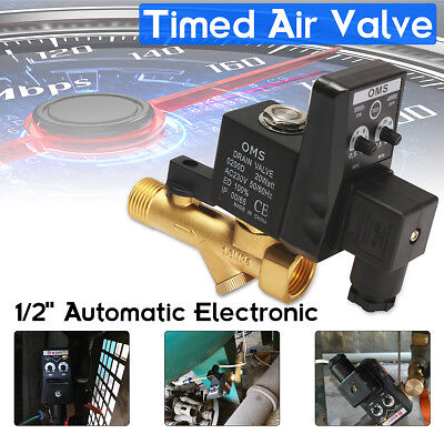 """AC220V 1/2"""" Electronic Timed Air Compressor Gas Tank Automatic 2-way Drain Valve"""