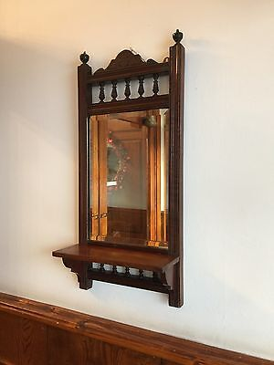 Victorian Wall Mirror Candle Shelf Wooden Gallery Bevelled Glass