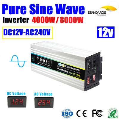 Power Inverter 4000W / 8000W Surge Power Car Caravan Boat 12V-240V USB Output