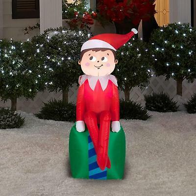 Airblown Inflatable Elf on Present Gemmy Christmas Yard Decor