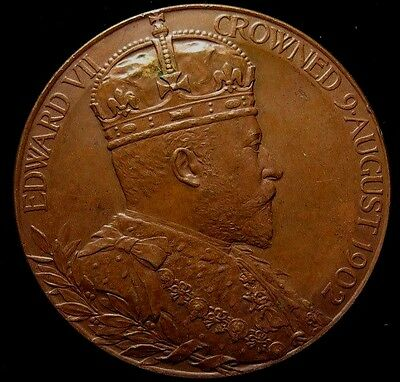 1902 King Edward VII Coronation Official Royal Mint Bronze Medal Large
