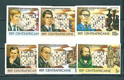 CAR Central Africa 1983  Chess masters 6 imperforated stamps