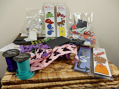 Mixed Lot of Paper Scrapbooking Crafting Items Punch Stickers Card Toppers