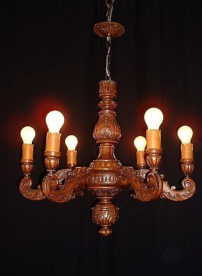 Vintage large French Elm wood chandelier 6 arms great carved canopy