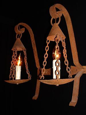 Vintage large French arts and craft wrought iron sconces 4 pairs available