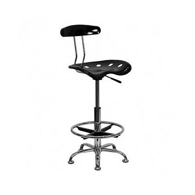 Drafting Stool Tractor Seat Black Chrome Vibrant Flash Furniture Office Chair