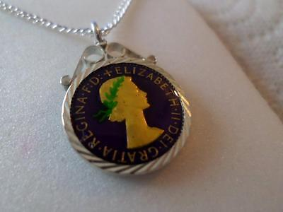Vintage Enamelled Farthing Coin Pendant & Necklace 1955. Xmas Birthday Present