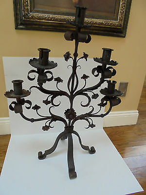 Antique 19c Wrought Iron Church Candelabra~ Authentic • CAD $629.94