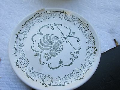 vintage Dessert Plate Rooster Pattern farmhouse barn country