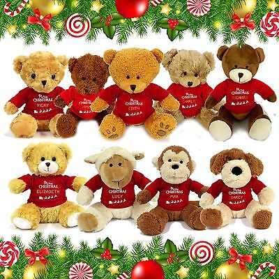 Personalised Name Christmas Xmas Teddy Bear Stocking Fillers for Kids Boys Girls