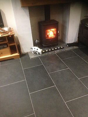 Brazilian Slate Tiles Flooring 5m2 600 x 400 10mm Thick Calibrated Nero Black