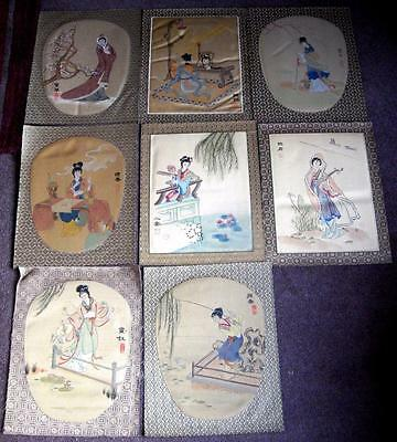 Eight various hand painted Chinese watercolours on silk of female figures signed