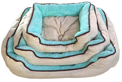 New Teal Deluxe Soft Washable Dog Cat Pet Warm Basket Bed Cushion Fleece Lining