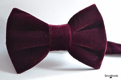 Velvet Bow Tie* Sizes 0-10*Wine Velvet Handmade Bow tie